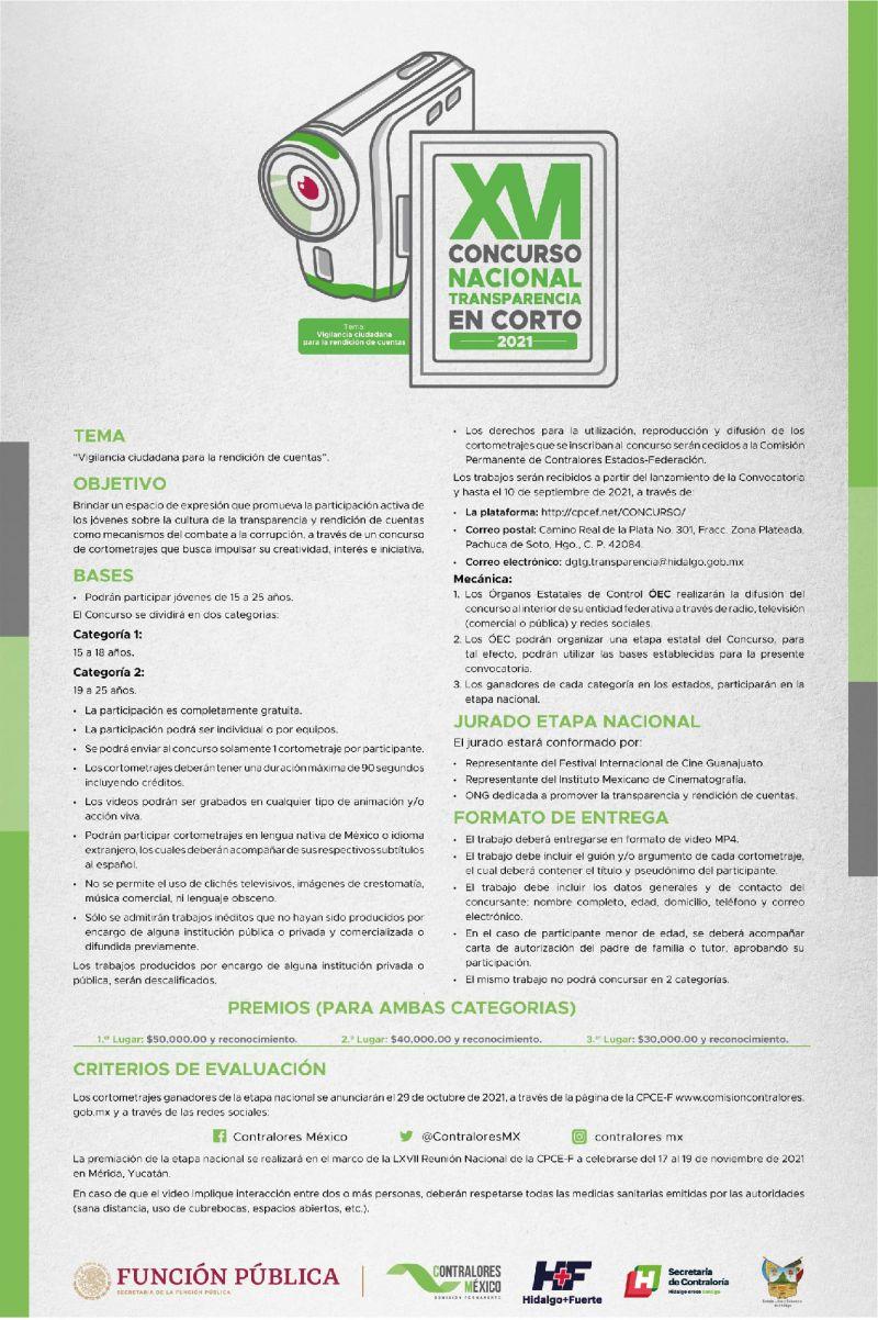 """Concurso nacional """"Trasparencia en Corto 2021""""."""